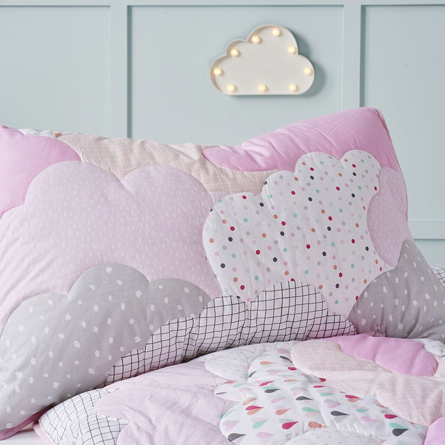 Adairs Kids Cloud Quilted Quilt Cover Set Pink Bedroom