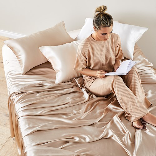 Pure Silk Champagne Sheet Set | Stay at Home Mum
