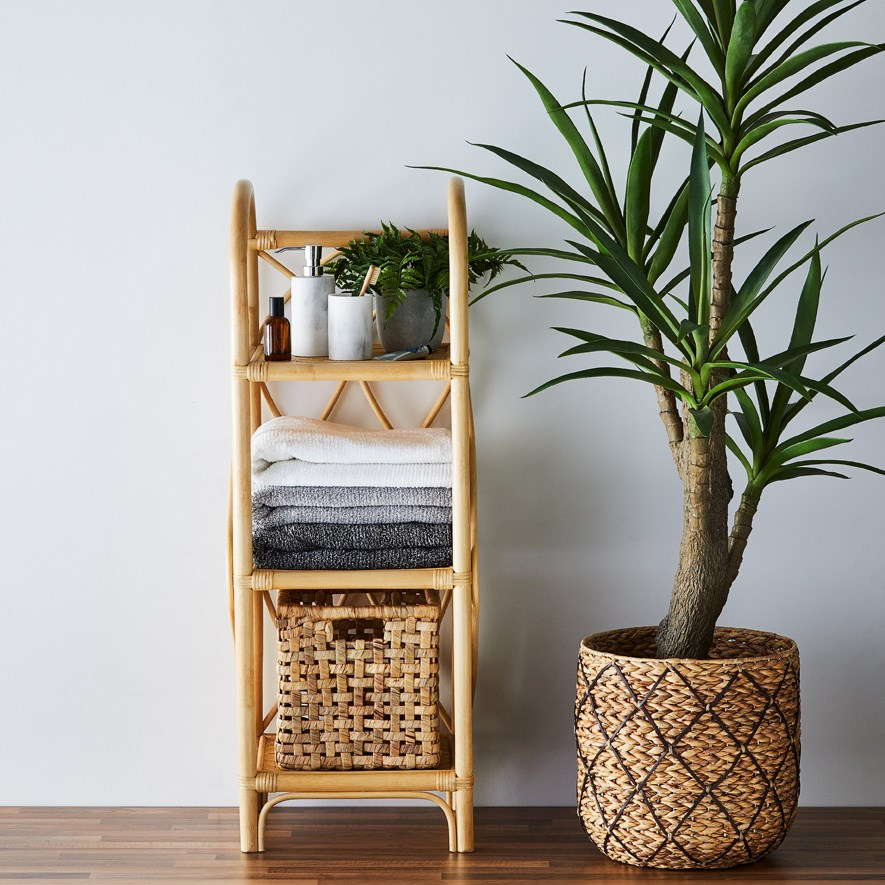 Cayman Rattan Collection Honey 3 Tiered, Wicker Shelves For Bathroom
