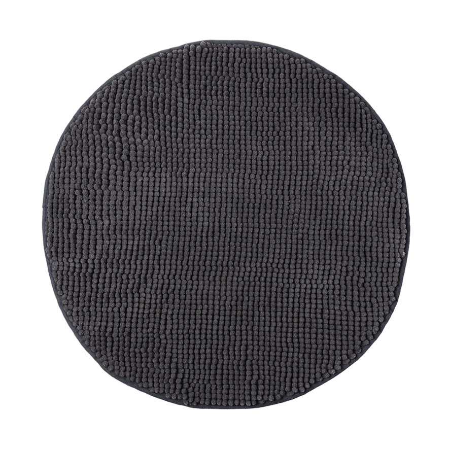 Home Republic Microplush Bobble Round Bath Mat Coal