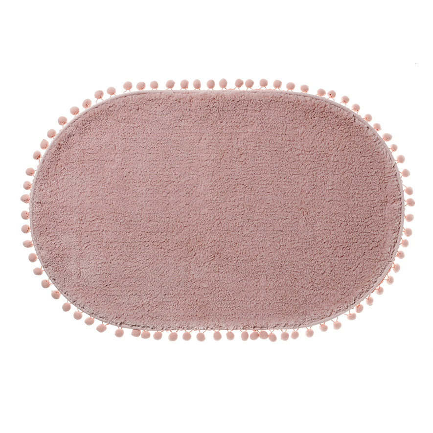 Mercer Reid Microplush Pom Pom Bath Mat Blush Pink