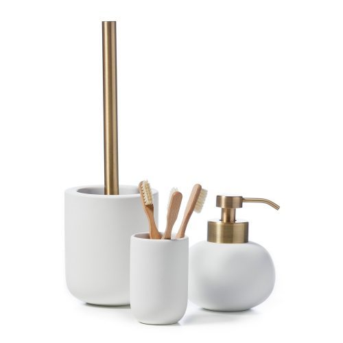 home republic dane bathroom accessories white and gold