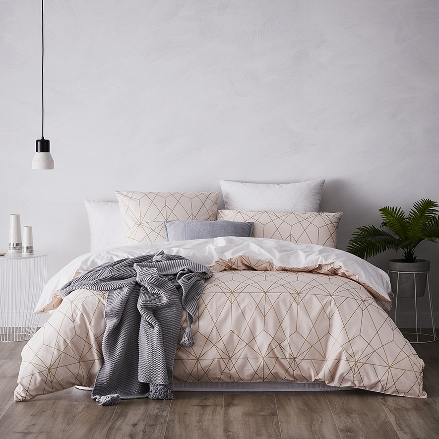 Metro Otto Quilt Cover Set Blush Bedroom Outlet Metro