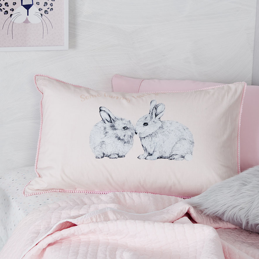 Bedroom Furniture Easter Sale: Text Pillowcase Some Bunny Loves You