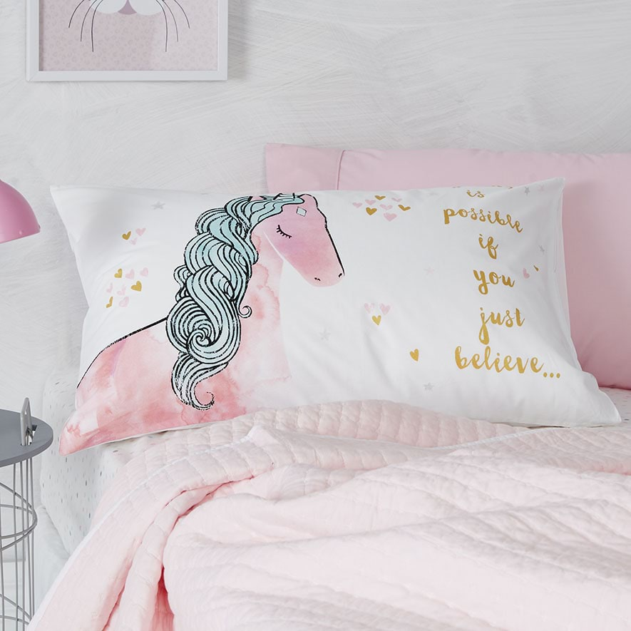 Adairs Kids Text Pillowcase Unicorn Bedroom