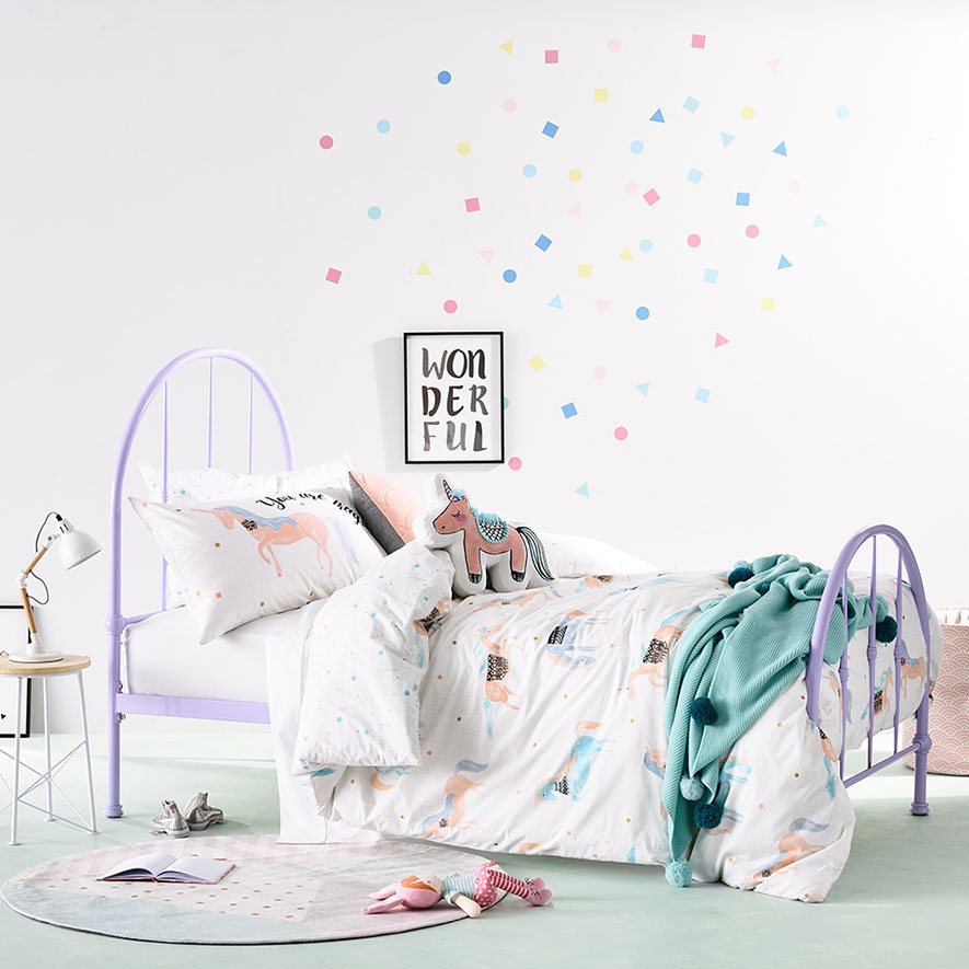 Adairs Kids Unicorn Party Quilt Cover Set Bedroom