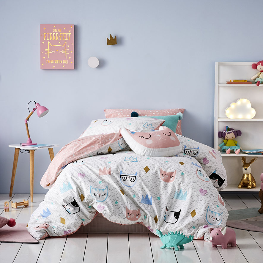 Adairs Kids Kitty Dreams Quilt Cover Set