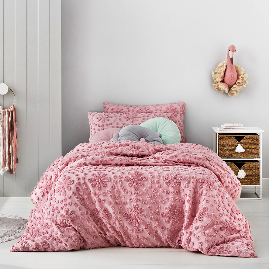 Adairs Kids Florence Chenille Pink Quilt Cover Set