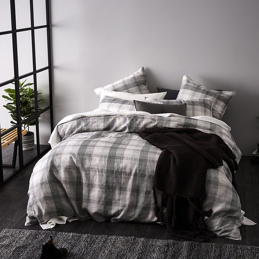 20180307 Aston Check Black And White Quilt Cover Set Bedroom
