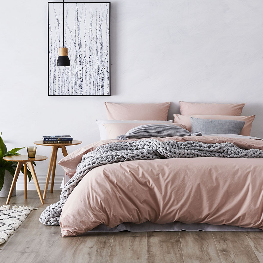 Home Republic Stonewashed Cotton Quilt Cover Dusty Pink