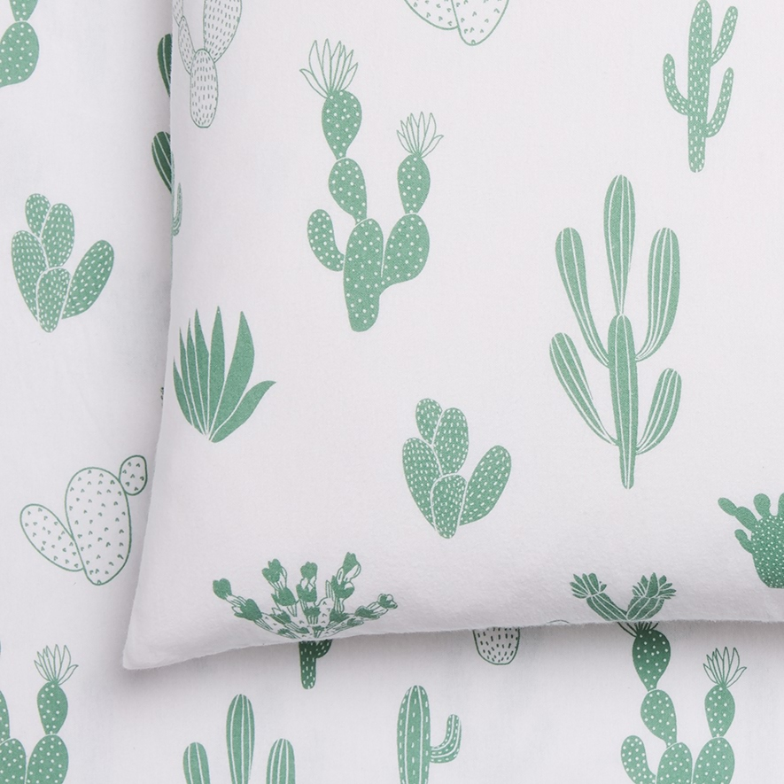 Novelty Printed Green Cactus Flannelette