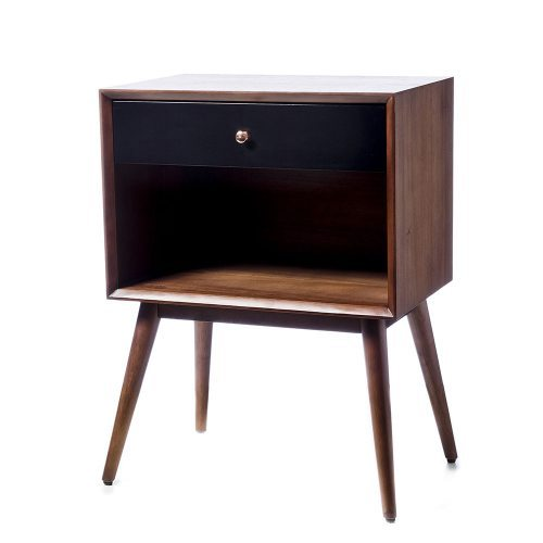 Home Republic Brooklyn Side Table With Shelf And Drawer Black And Walnut Furniture Side