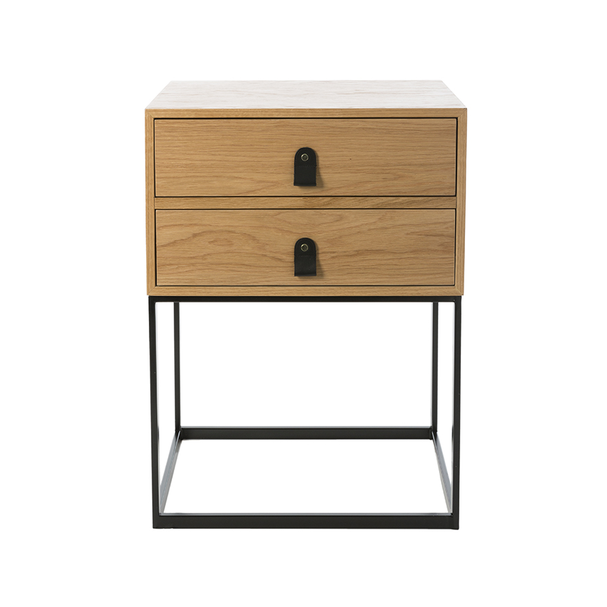 Home Republic Milo 2 Drawer Side Table Natural Black Furniture Side Tables Adairs Online