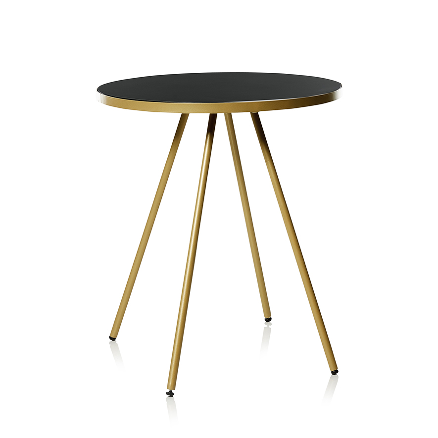 Home Republic Ballarat Round Side Table Gold Black Furniture