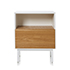 Mykonos Bedside Table with Shelf and Drawer White & Ash