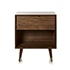 Alsace Bedside Table with Shelf and Drawer Walnut