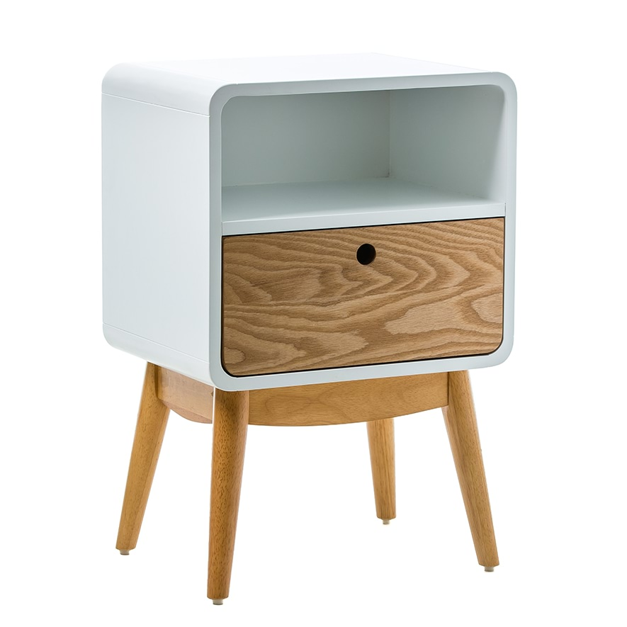 Jax Side Table White & Natural