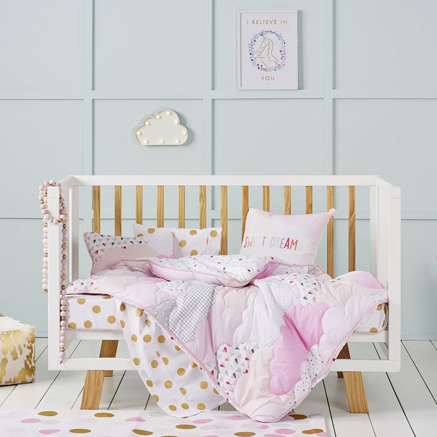 - Cloud Quilted Cot Quilt Cover Set Pink