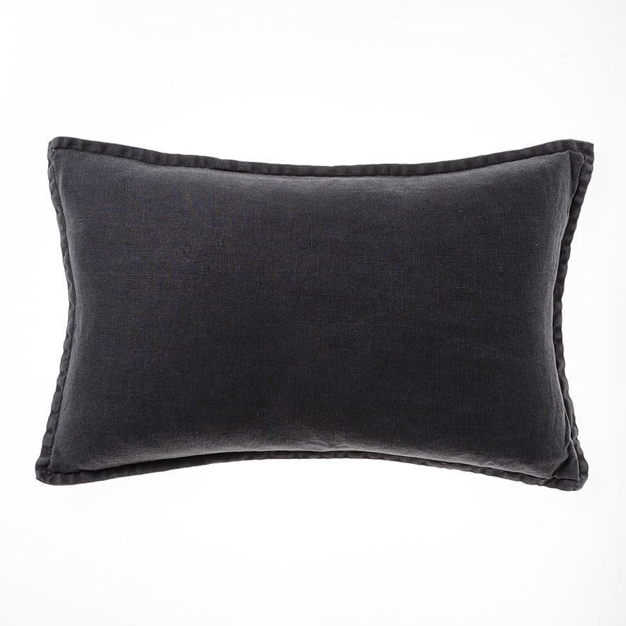 Home republic belgian vintage washed linen long cushion charcoal save publicscrutiny Image collections