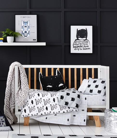 Batman Cot Grey Quilt Cover Set