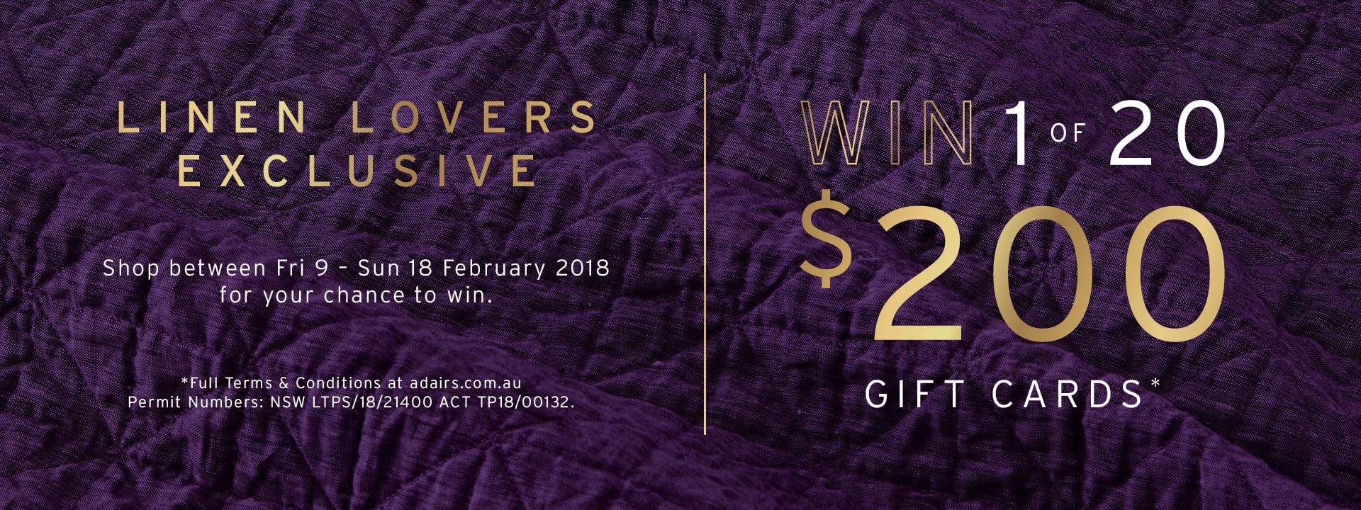 Linen Lovers - Win a Gift Card!
