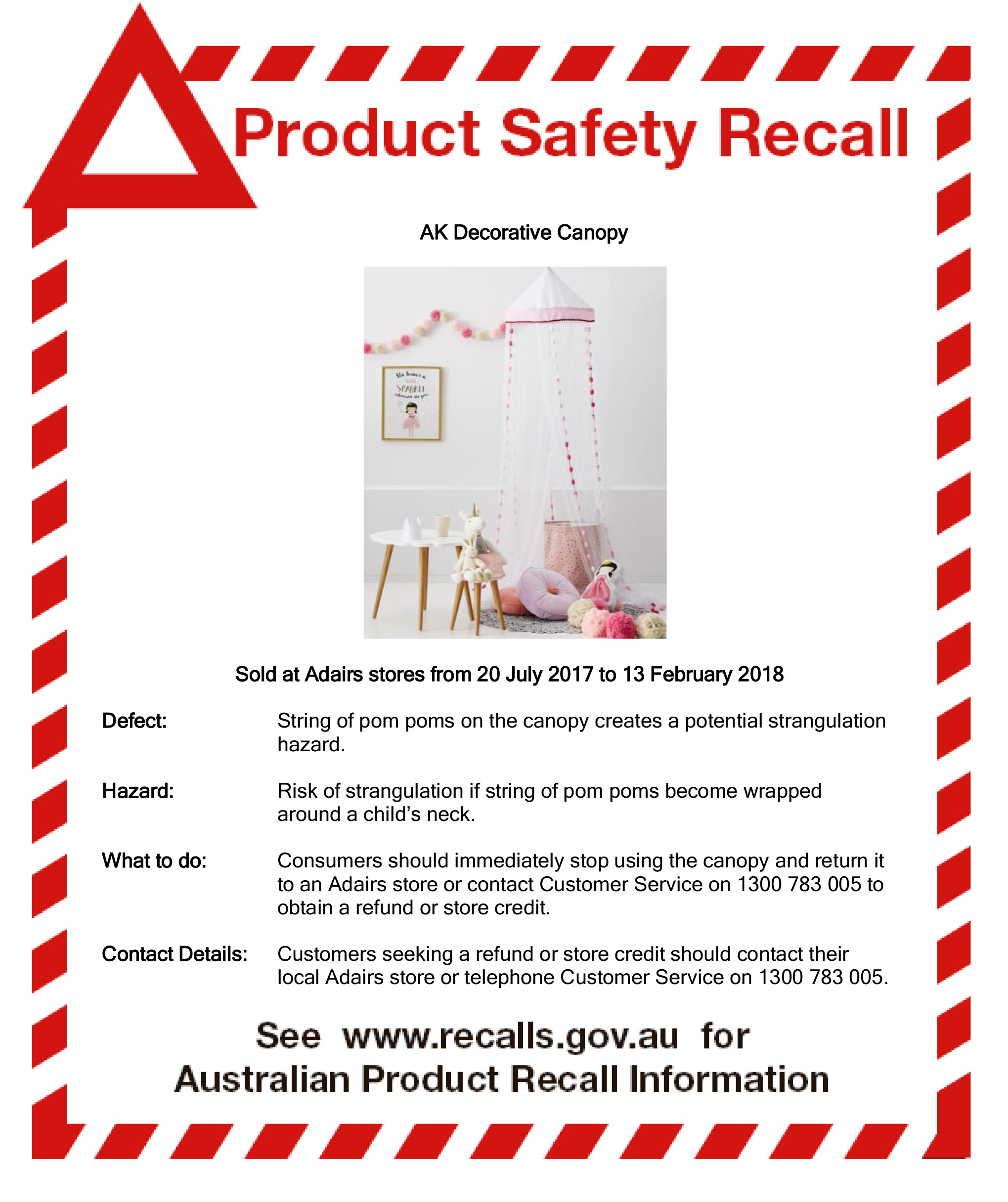 Product Recall Notice Kids Canopy